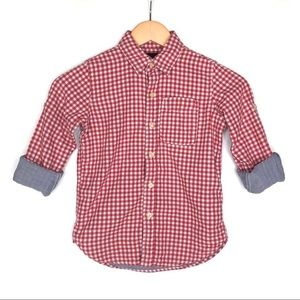 Gap red gingham check button-down shirt small 6-7